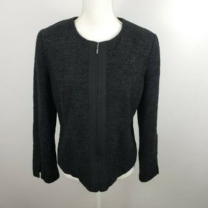 Gap metallic tweed zip up blazer coat formal Med